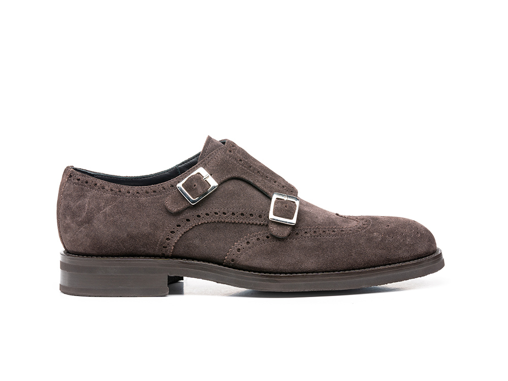 coffee suede leather men double monk