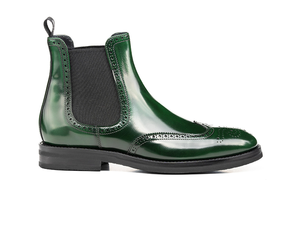 green polished leather women chelsea wing brogue boot