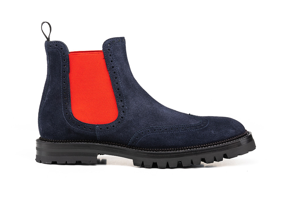navy suede leather women chelsea wing brogue boot