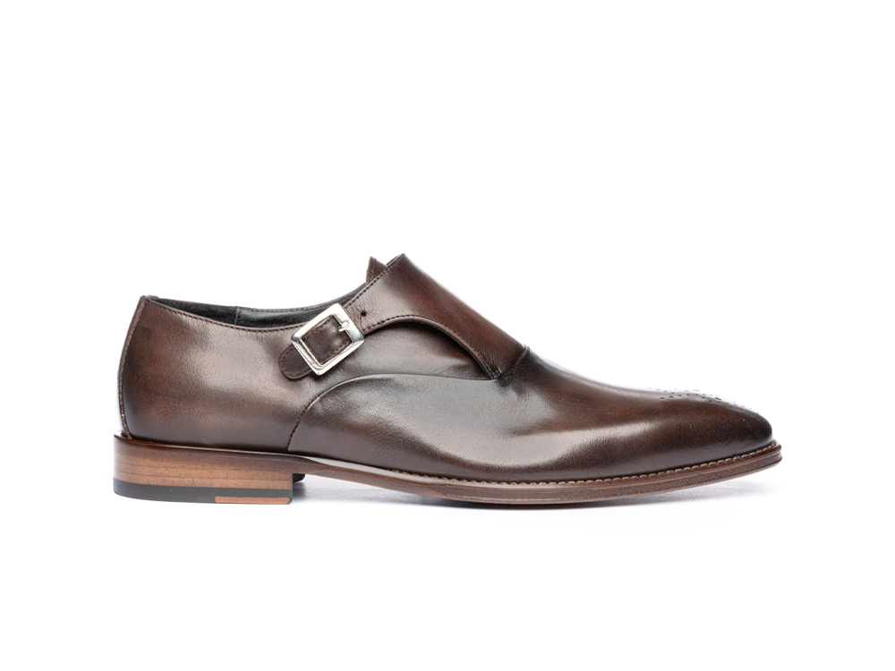 coffee calf crust leather men buckle loafer