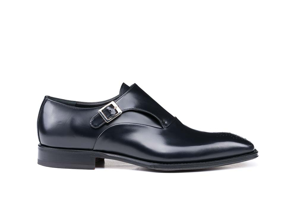 black cordovan leather men buckle loafer