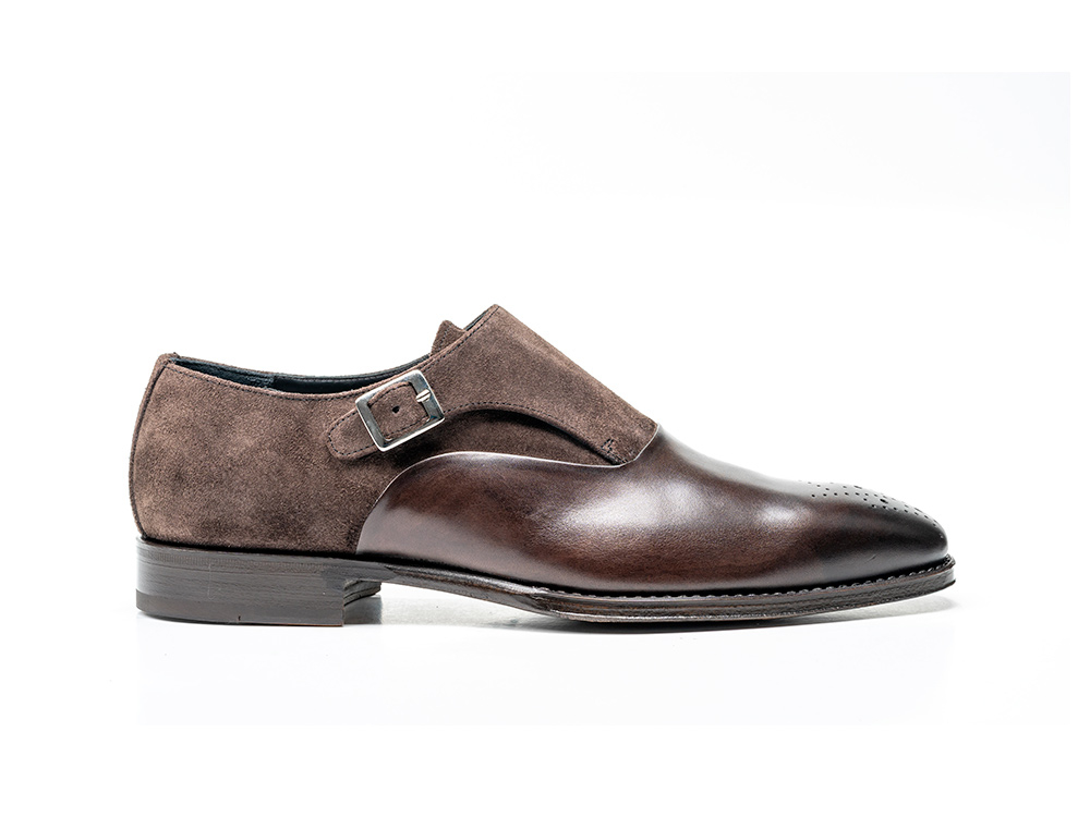 coffee kudu calf crust leather men buckle loafer