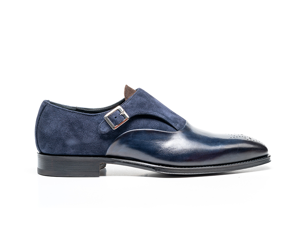 navy kudu calf crust leather men buckle loafer