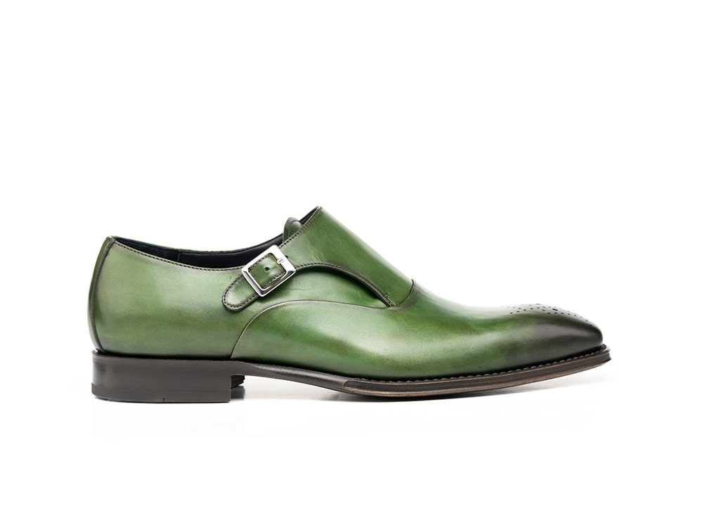 green calf crust leather men buckle loafer