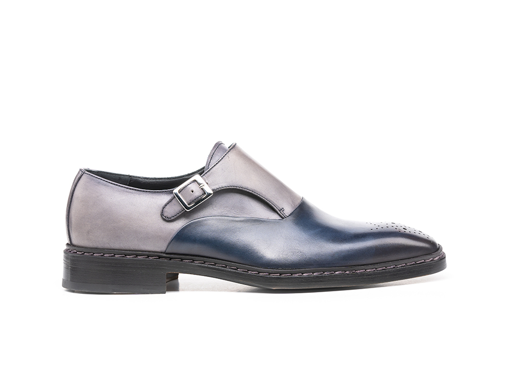 navy grey calf crust leather men buckle loafer