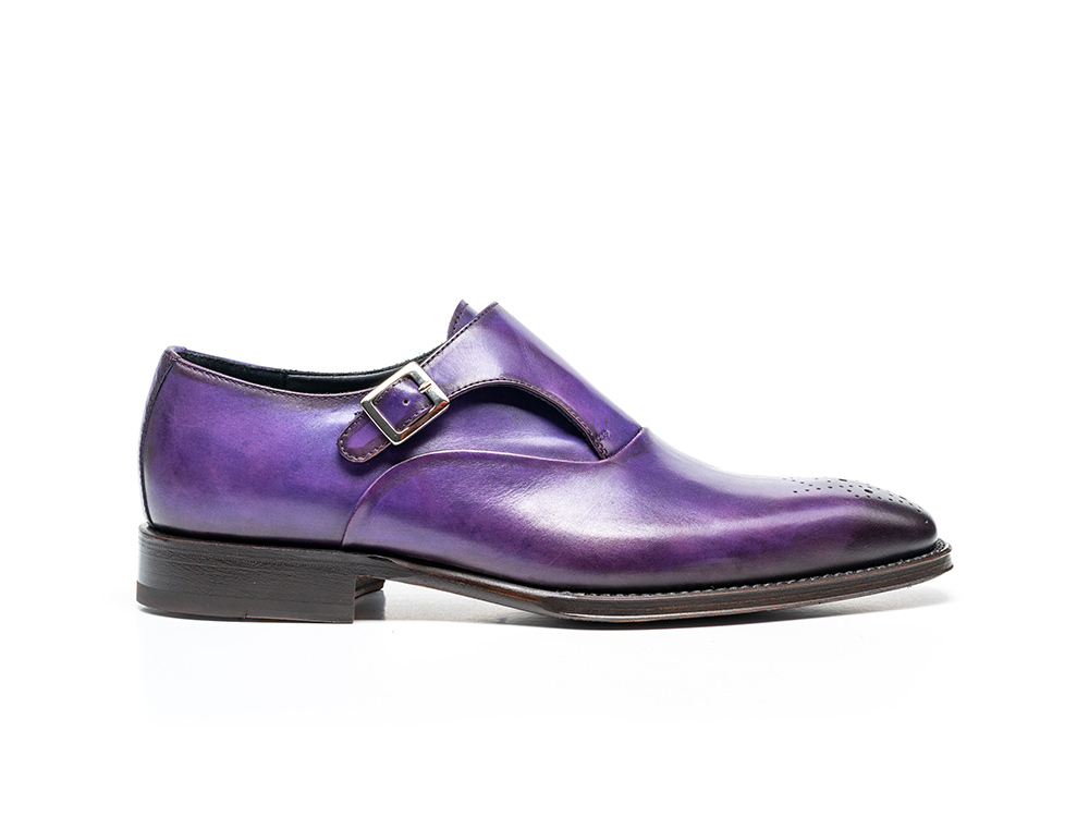 violet calf crust leather men buckle loafer