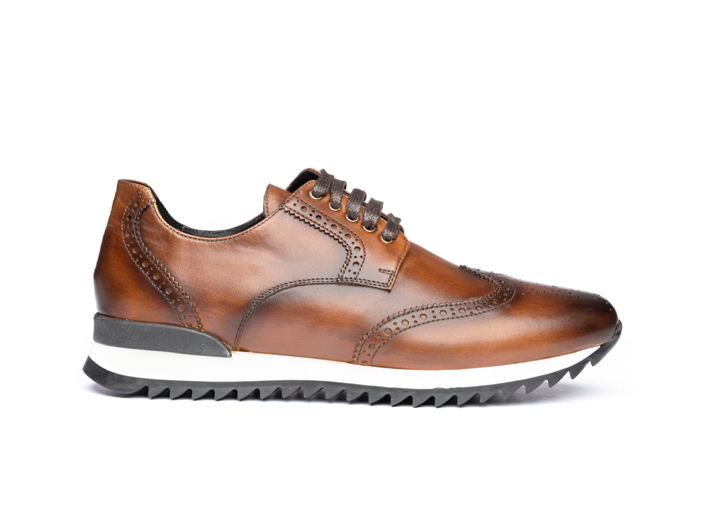 brown deco derby running sneakers