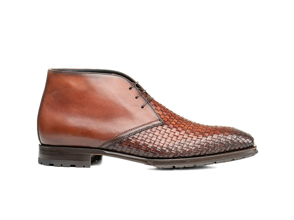 brown braided calf crust leather men desert boot