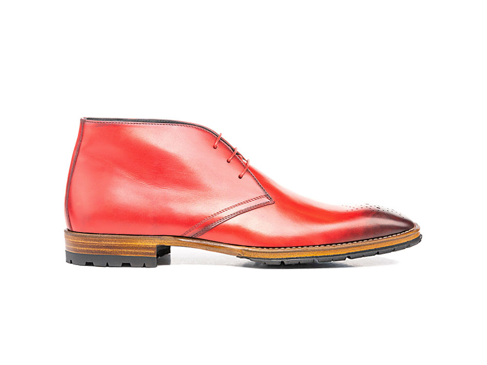 red calf crust leather men desert boot
