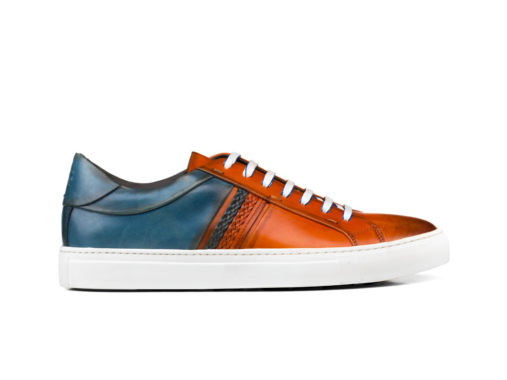 low top red denim calf crust leather sneakers