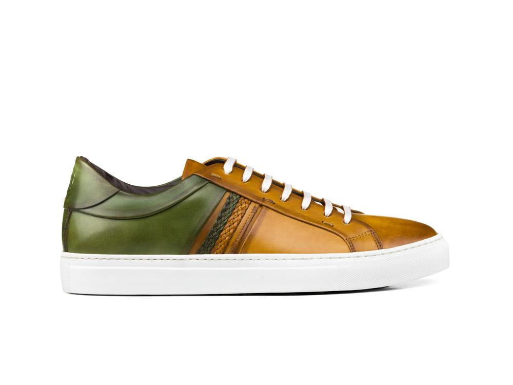 sneakers bassa calf crust cuoio verde