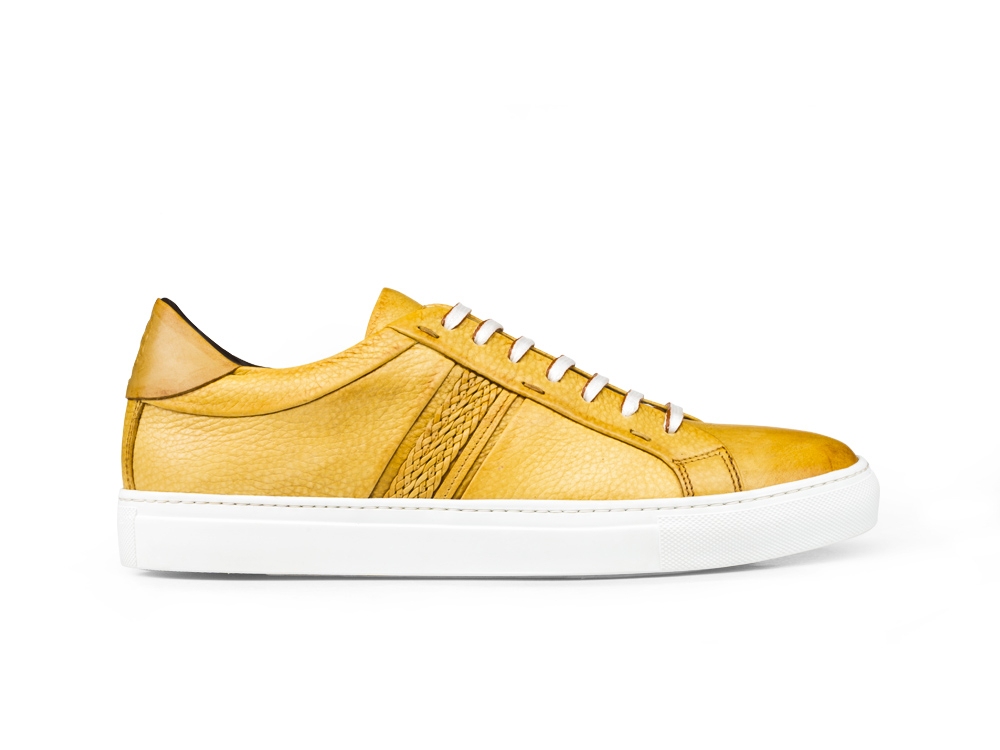 low top mais steam crust leather sneakers