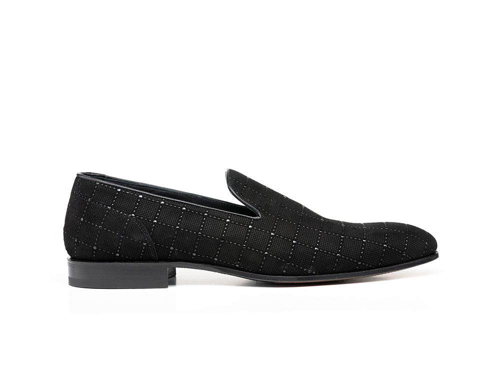 black ninja glass pattern leather men slip on