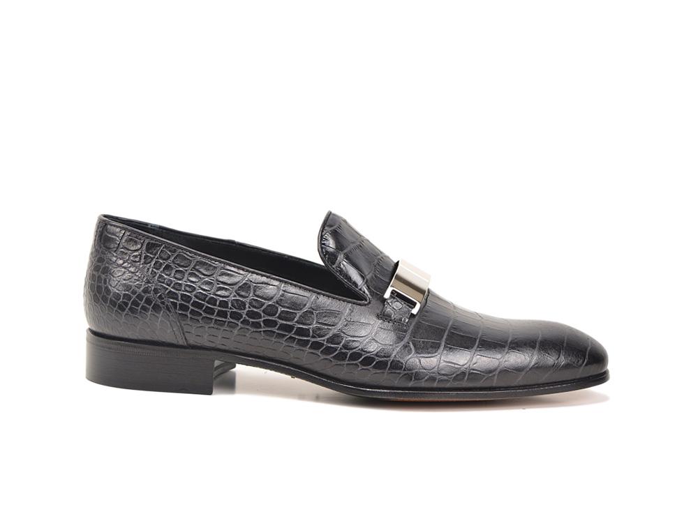 black croco leather men slip on