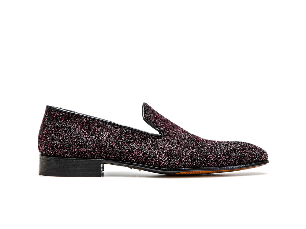 fuxia stardust pattern leather men slip on