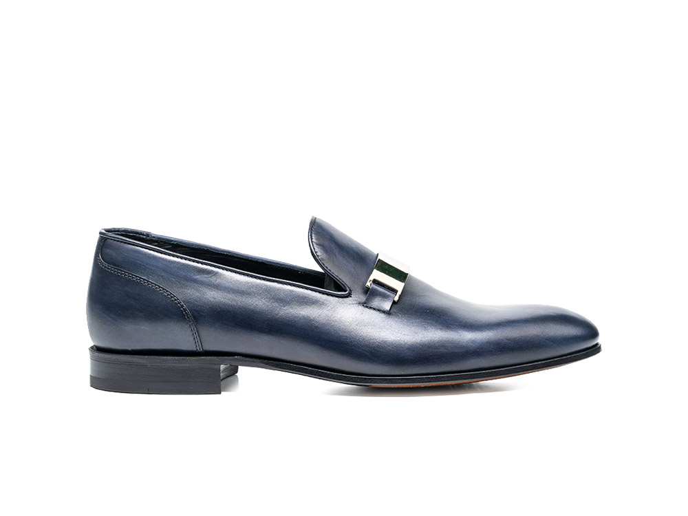 navy deco leather men slip on