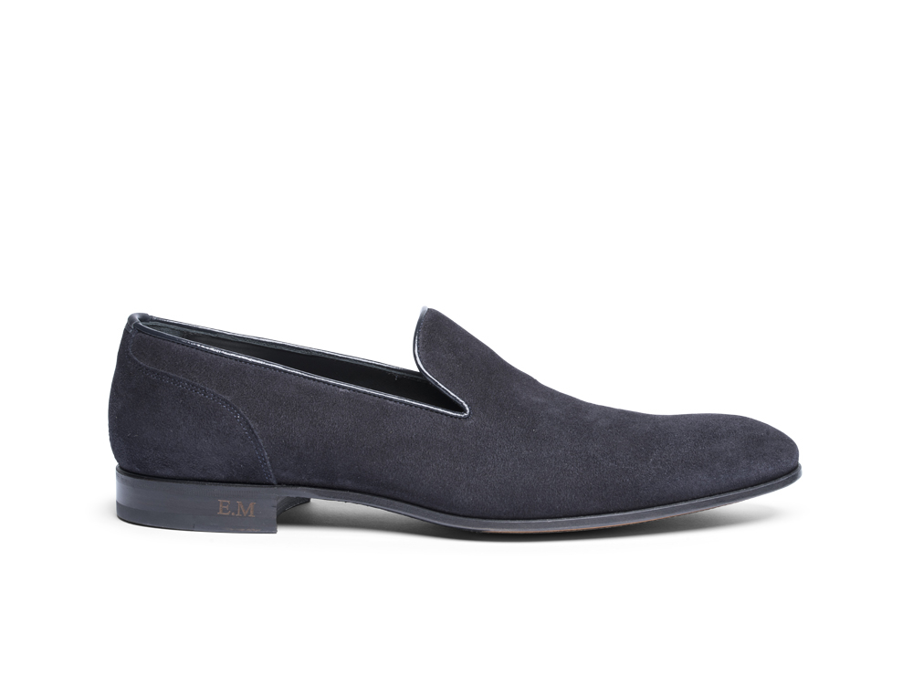 black suede man moccasin