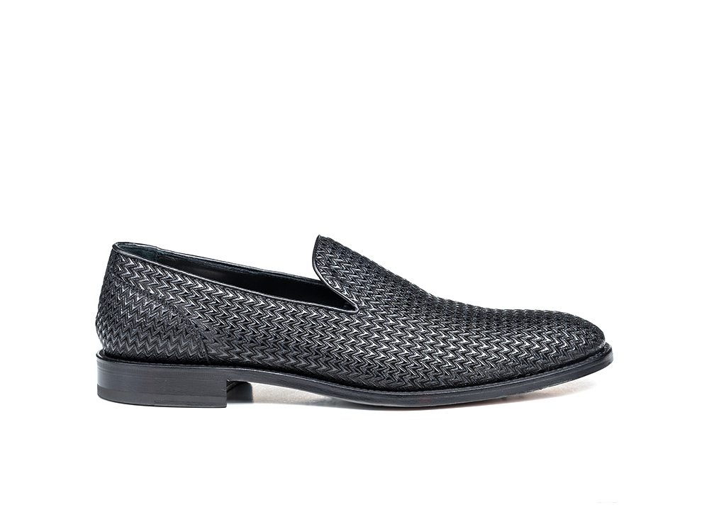 black victory glass pattern leather men slip on