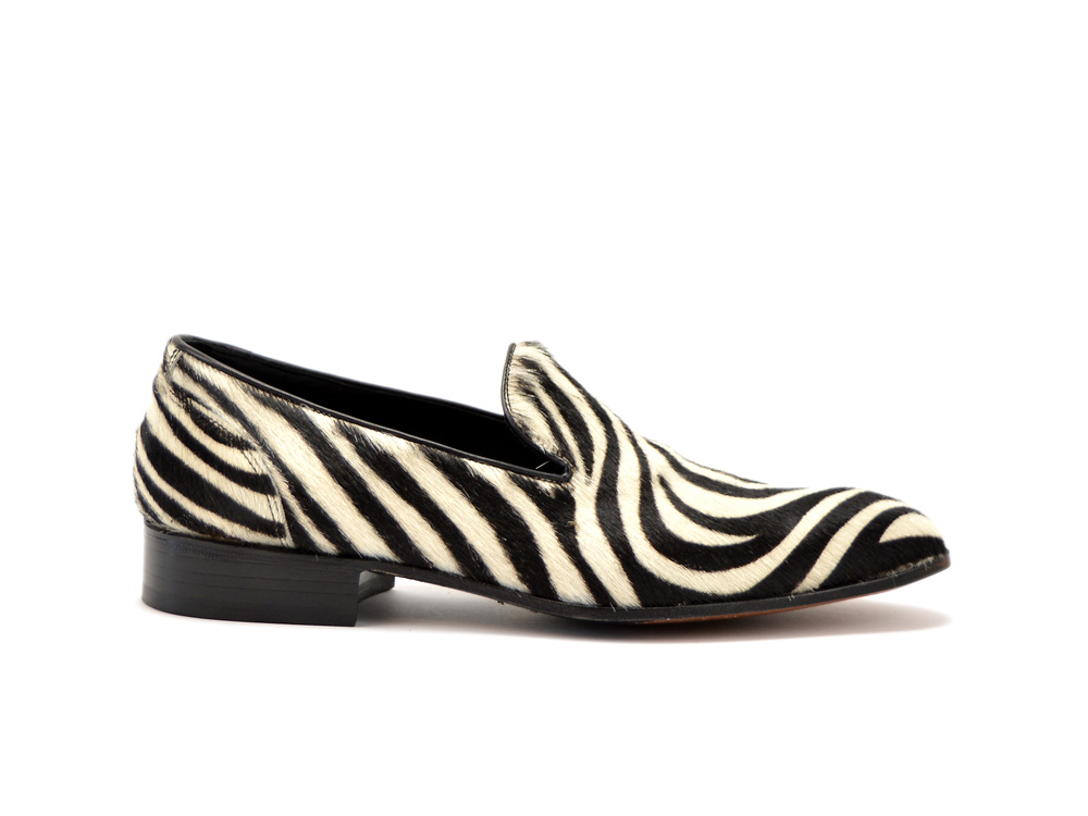 zebra pattern leather men slip on
