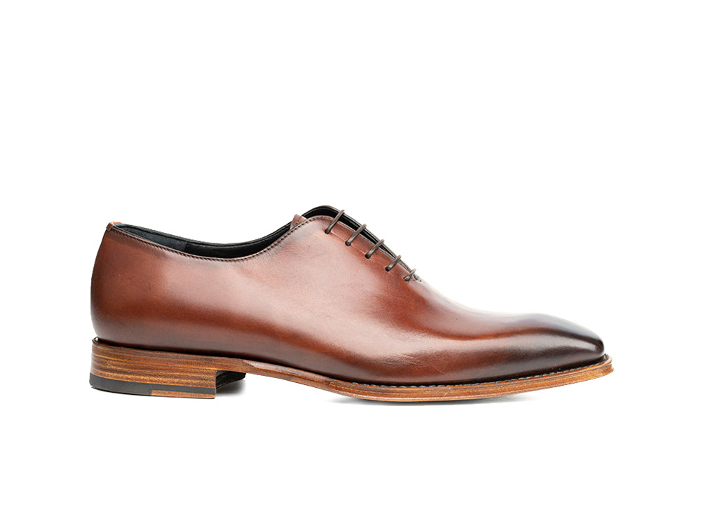 brown calf crust leather men oxford plain vamp