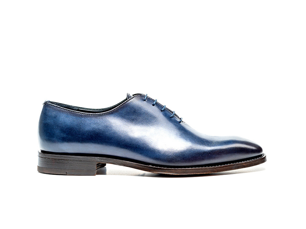 navy calf crust leather men oxford plain vamp