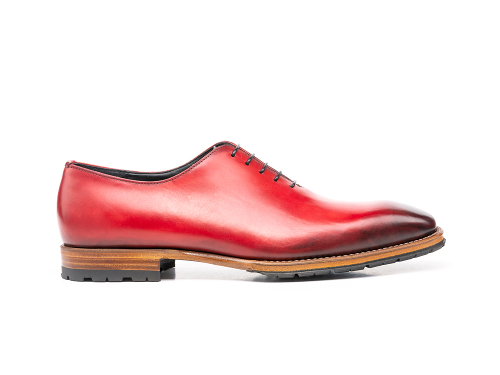 red calf crust leather men oxford plain vamp