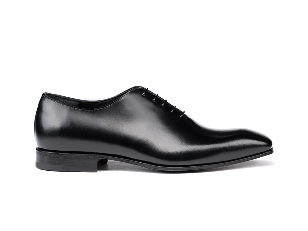 black cordovan leather men oxford plain vamp