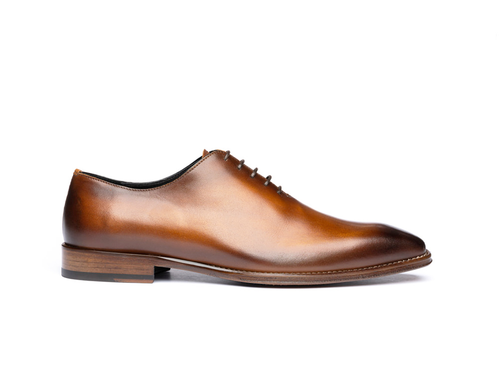 tan calf crust leather men oxford plain vamp