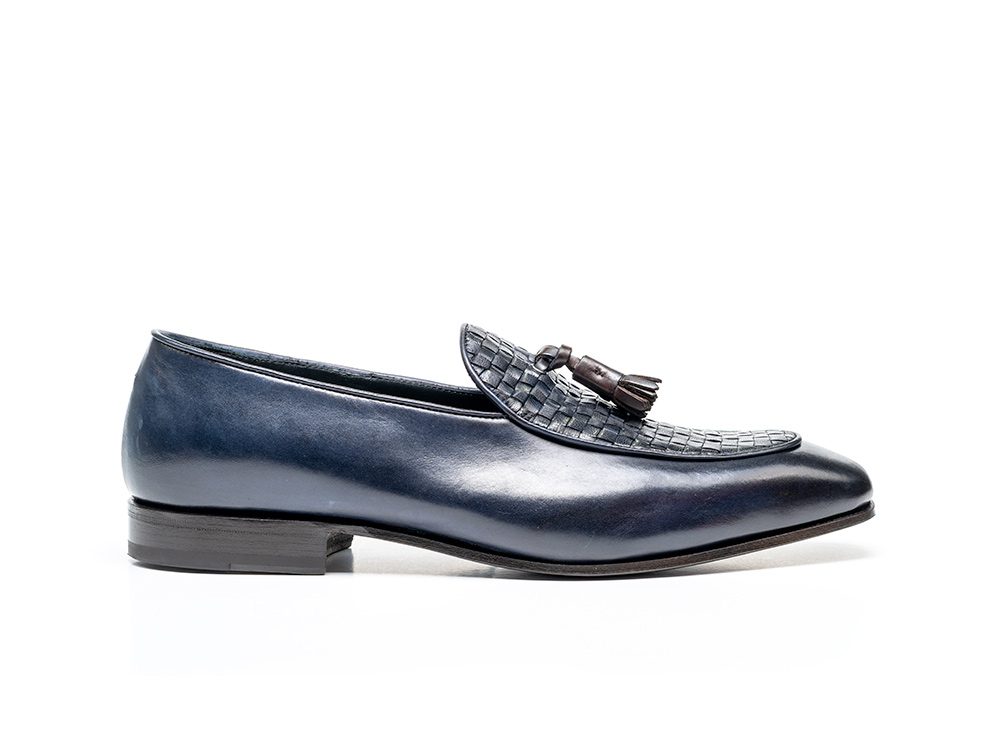 navy coffee calf crust leather men tassel moccasin
