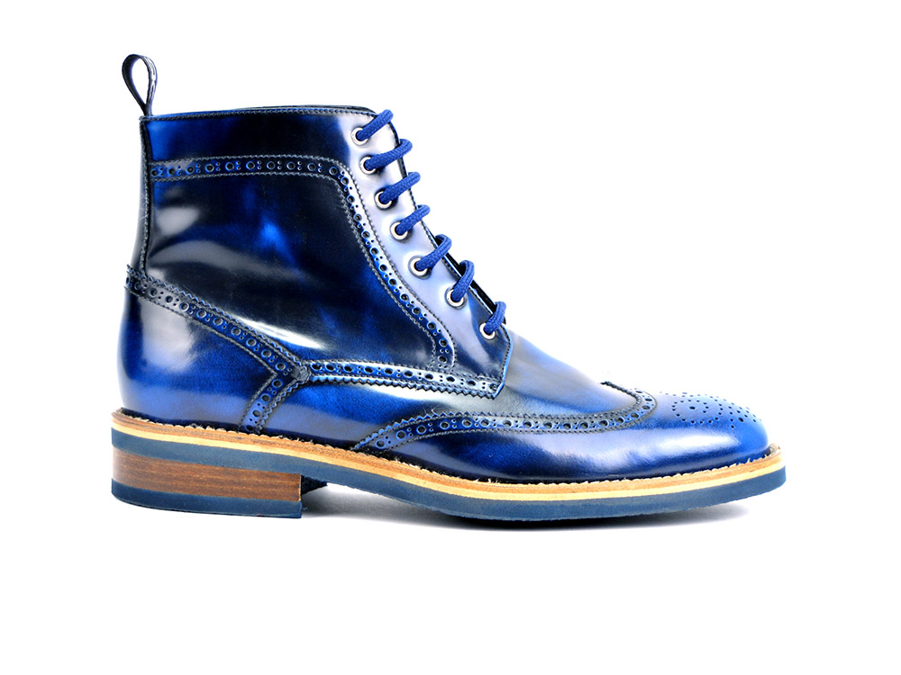 ankle wing brogue boot in blue polished leather