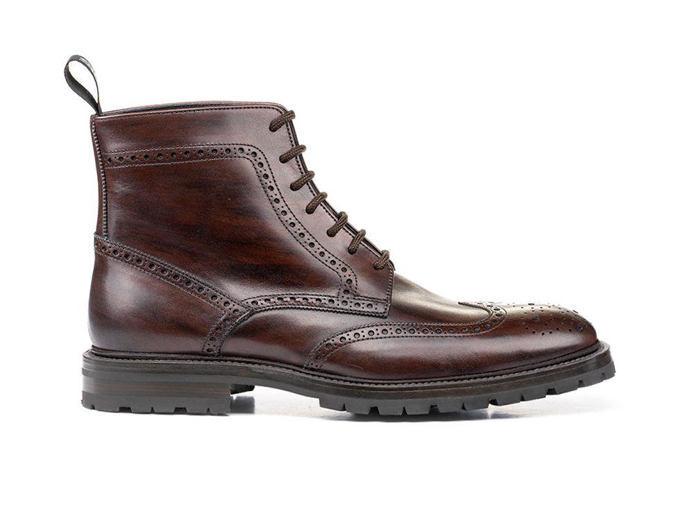ankle wing brogue boot in coffee deco leather