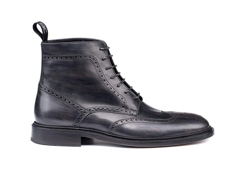 man's ankle boot in deco dark grey leather