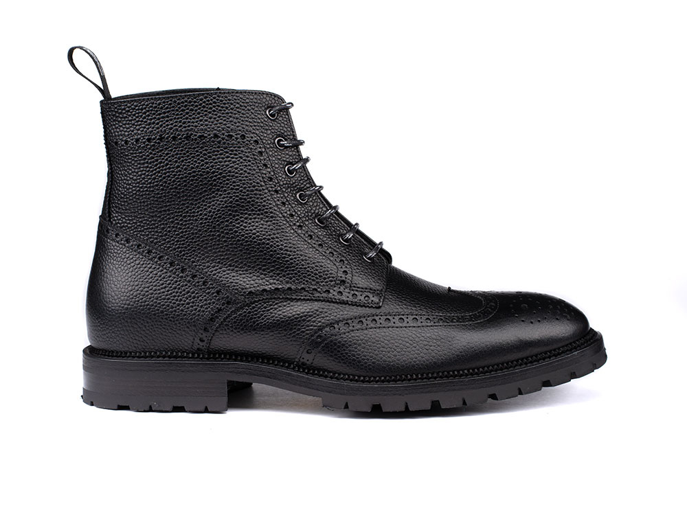 man's ankle boot in grain black leather