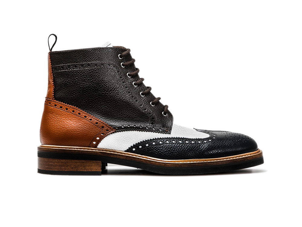 man's ankle boot in multicolor leather