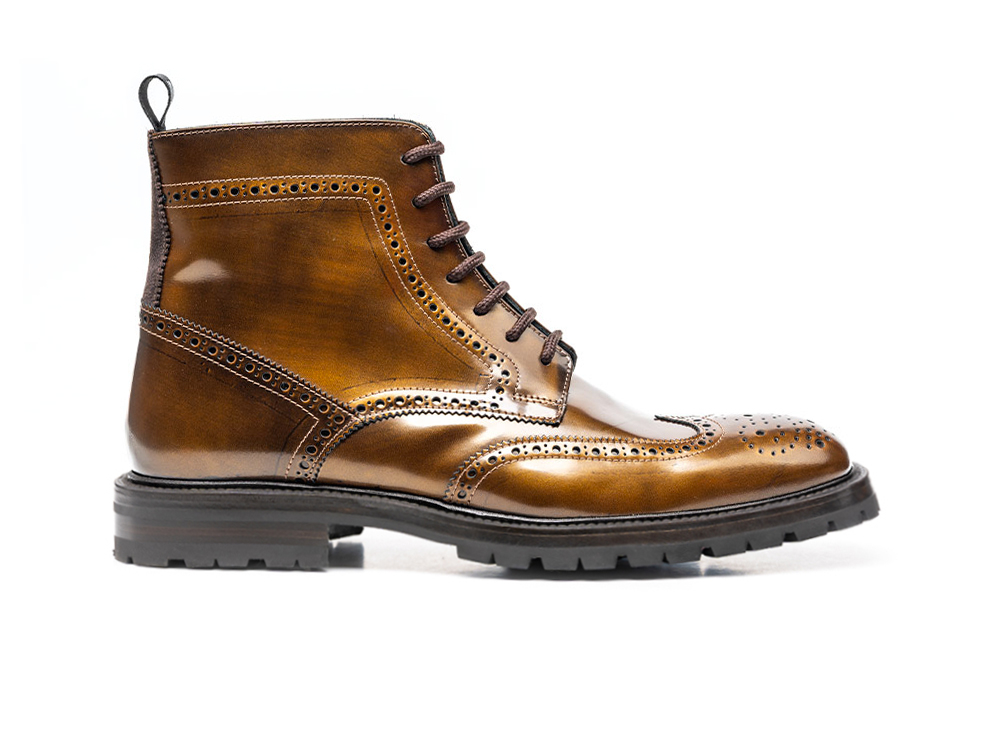 ankle wing brogue boot in bronze polished leather