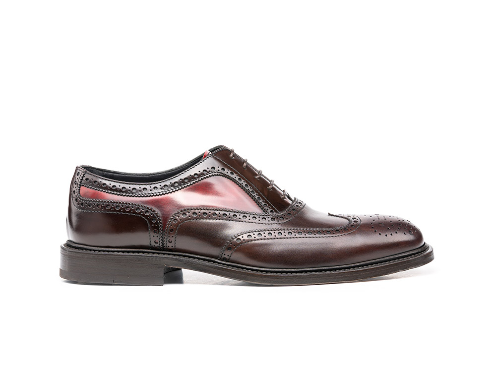 red polished coffee deco men oxford wing brogue