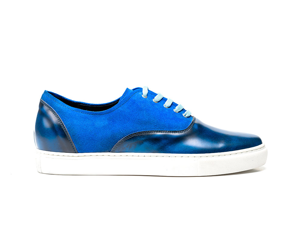 sneakers oxford polished blue suede blue royal