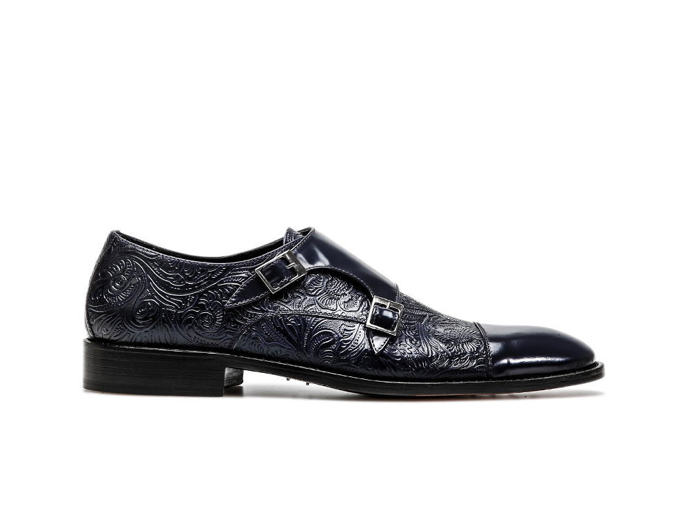 blue damask pattern leather men double monk