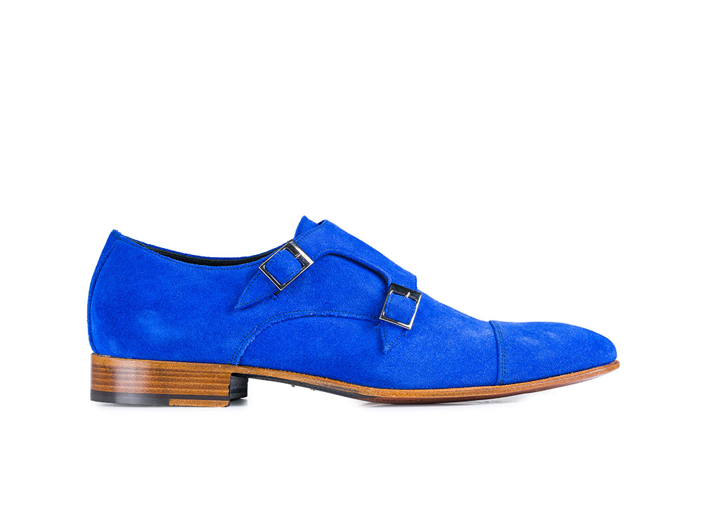blu royal double monk in suede leather