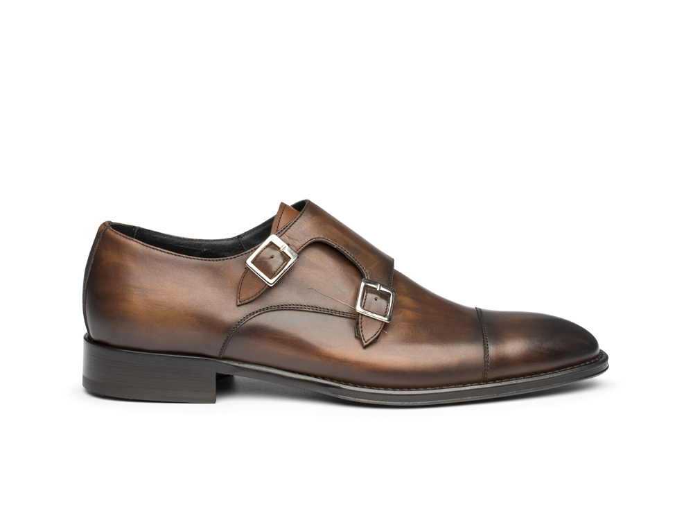 brown double monk in deco leather