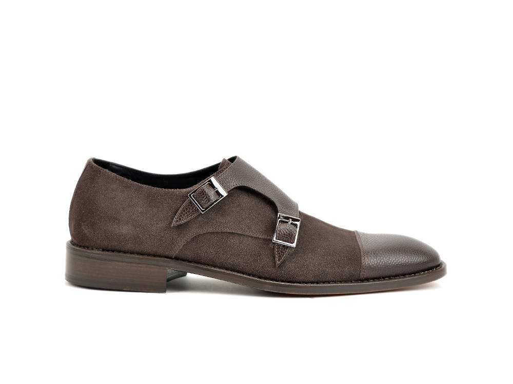 brown double monk in pebble grain leather and suede