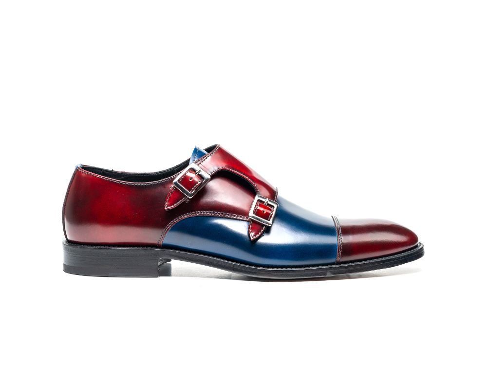 blue red polished double monk