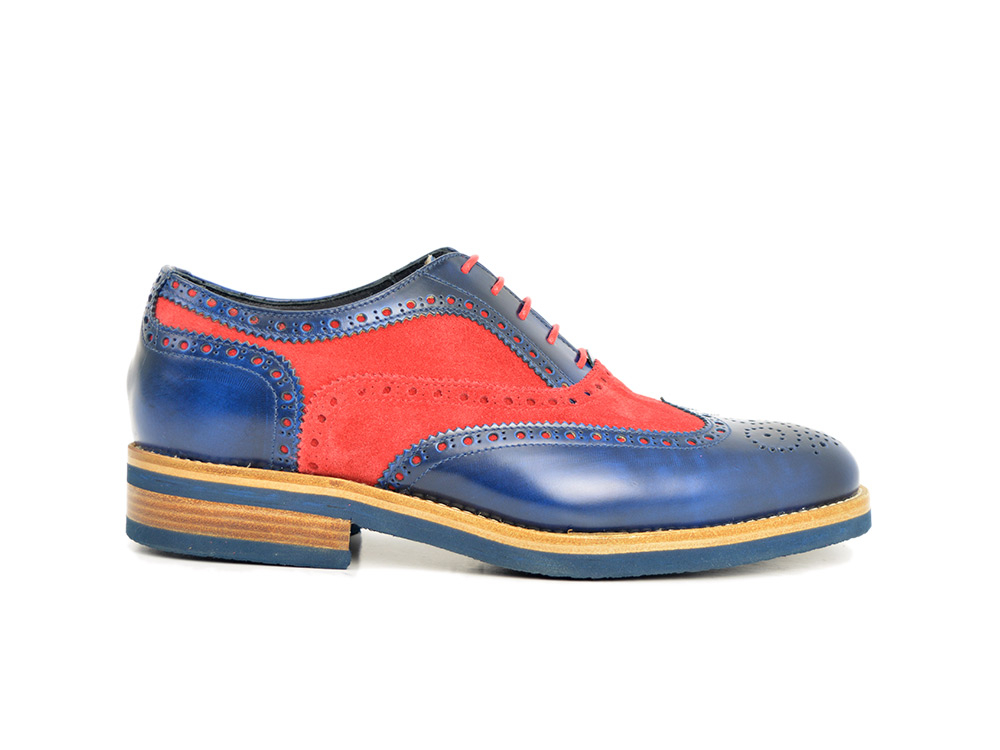red and blue man wingtip oxford