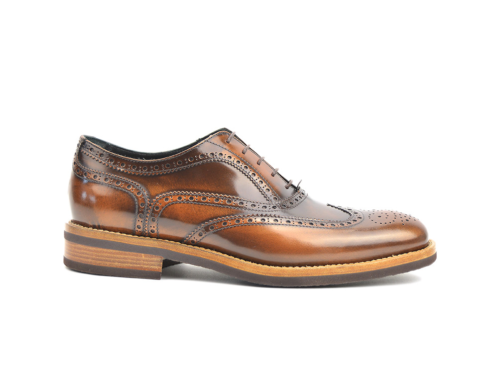 bronze polished leather men oxford wing brogue
