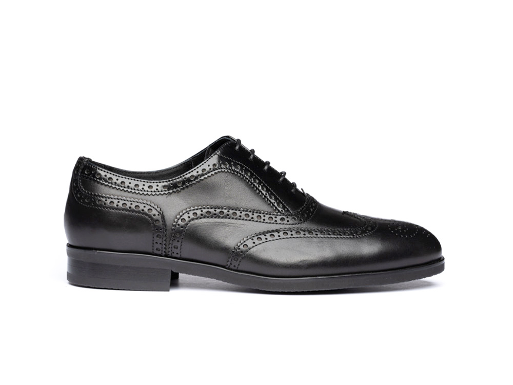 black calf leather men oxford wing brogue