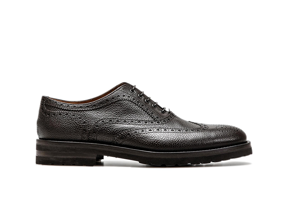 coffee pebble grain leather men oxford wing brogue