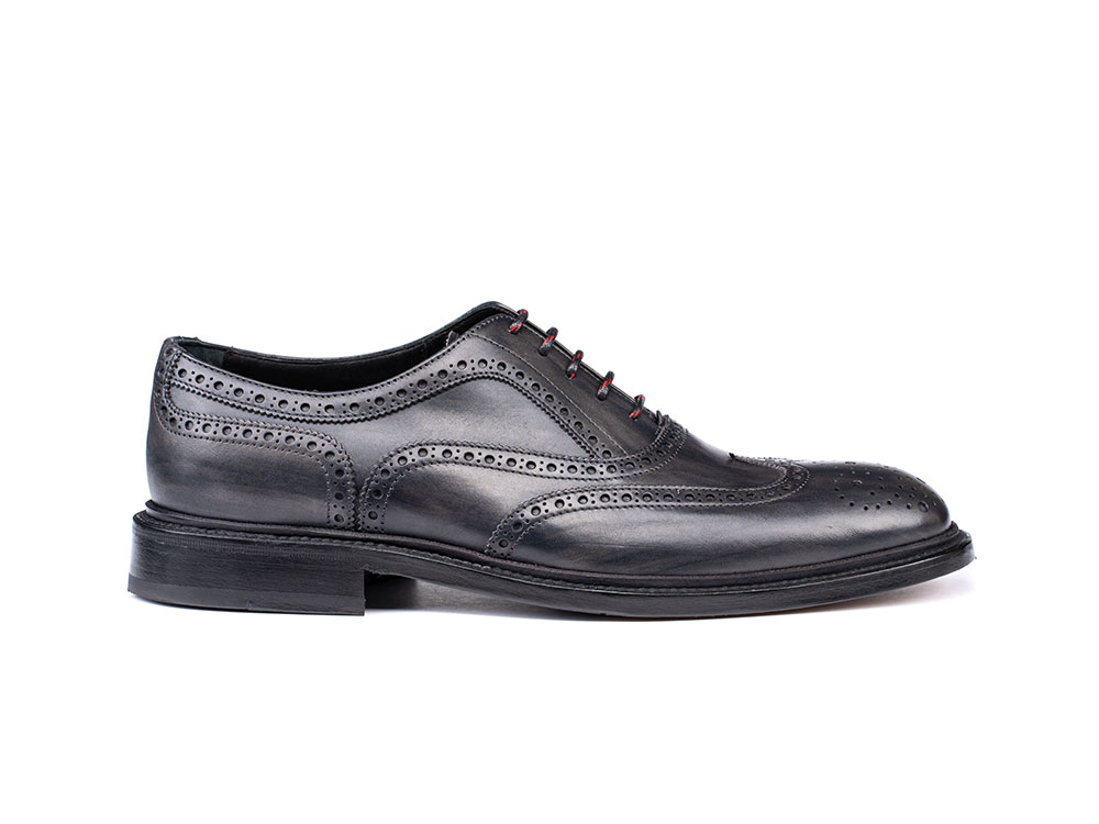 grey deco leather men oxford wing brogue