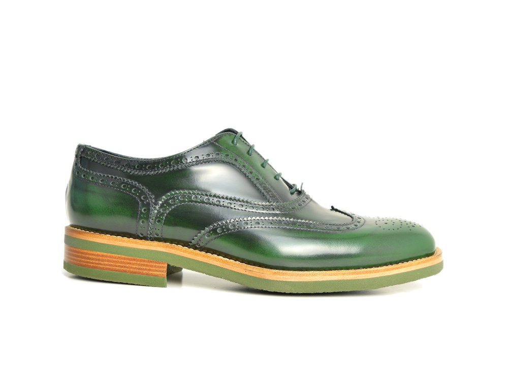 polished green wingtip oxford rubber sole