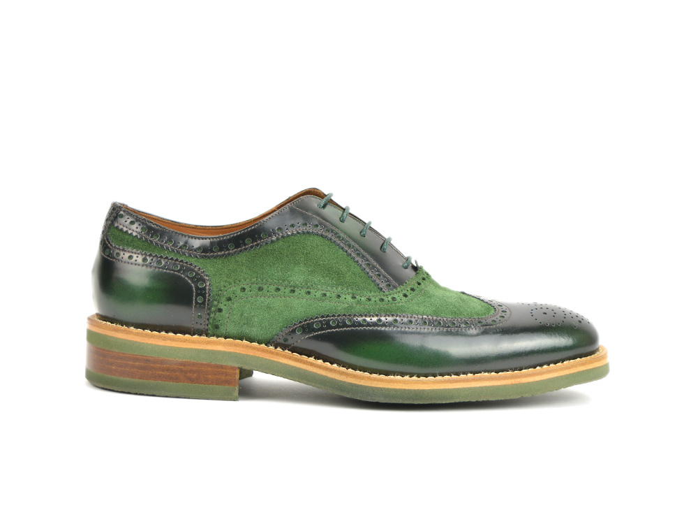 polished green suede green oxford wingtip