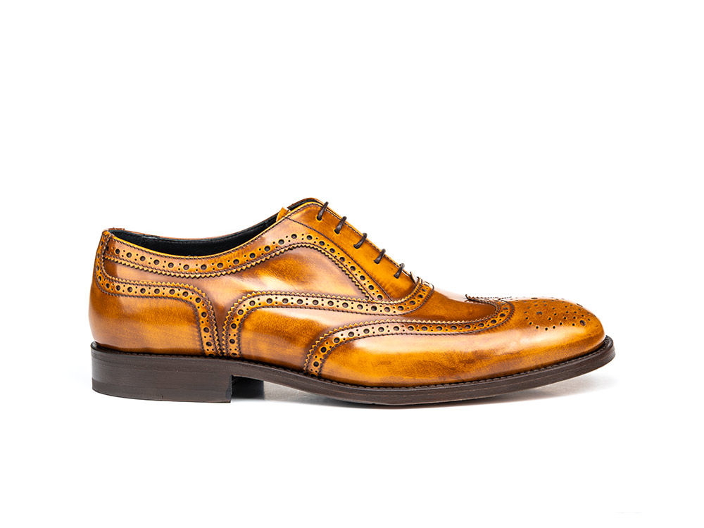 tan polished leather men oxford wing brogue